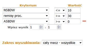 Progresja na wynik 1:1 - kreteria dla wyszukiwarki statystycznej