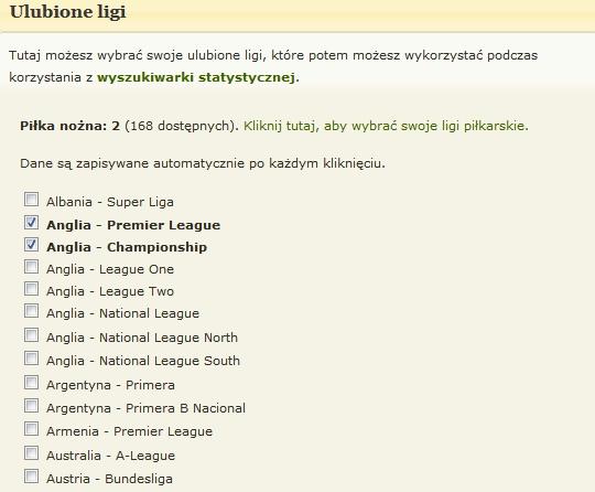 Ulobione ligi - wybór dla piłki nożnej